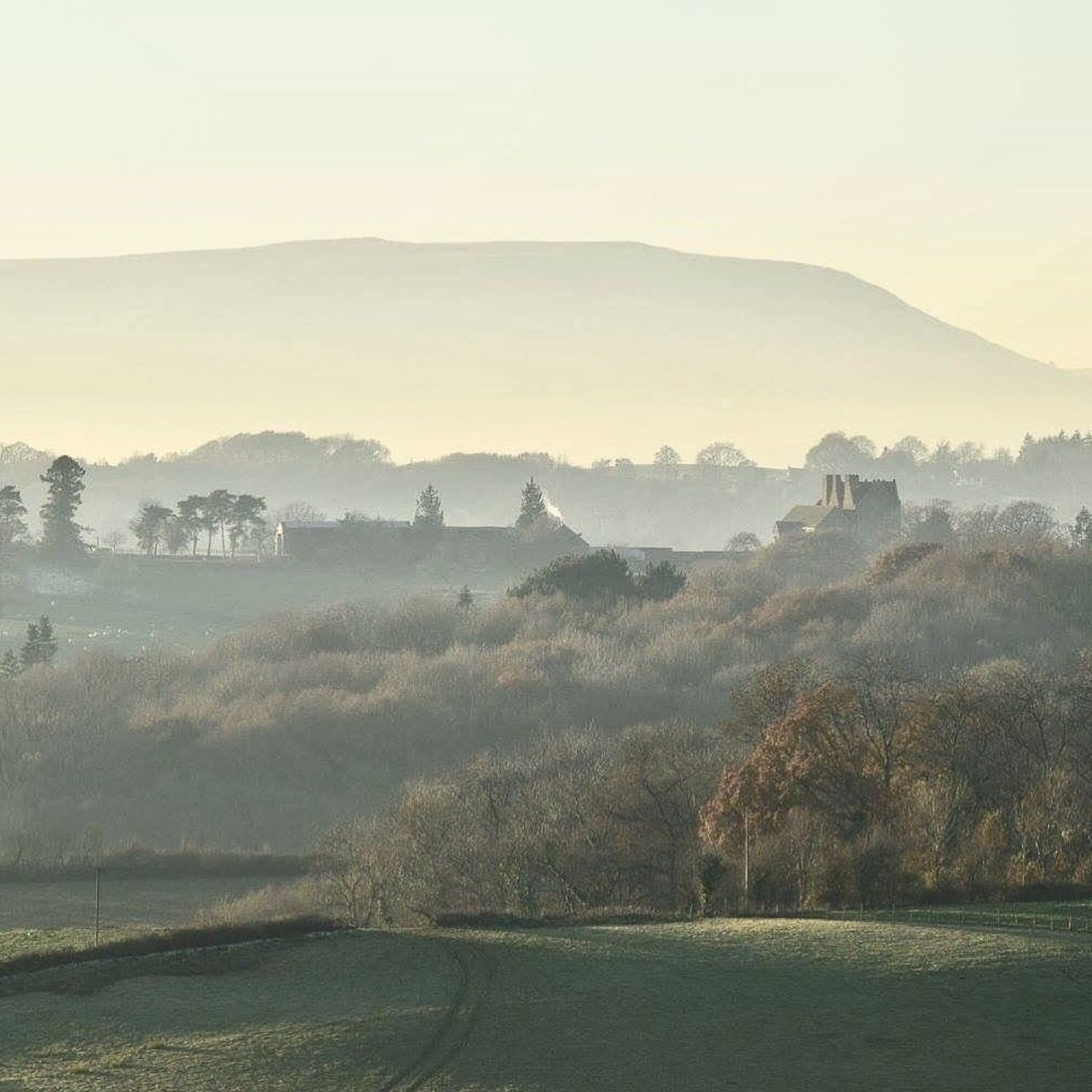 Although this pic doesn't immediately evoke cozyness. It just makes me want to fin d that house and go and snuggle up by the open fire with a cup of hot chocolate Always Be Cozy Frosty Mornings Landscape No People Nature Monmouthshire Welsh Countryside British Countryside