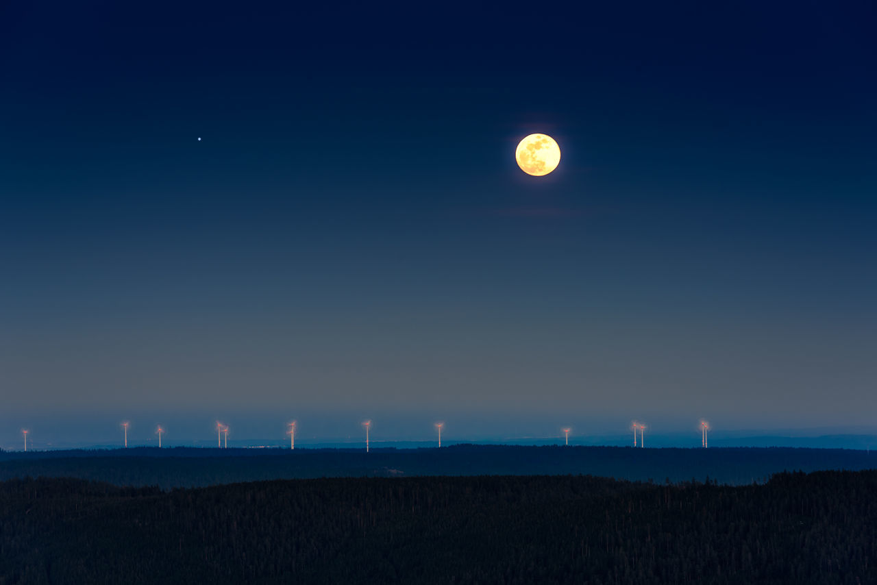 Astronomy Beauty In Nature Full Moon Moon Nature Night Nightphotography No People Outdoors Scenics Sky Tranquil Scene Tranquility Wind Mill Windmill