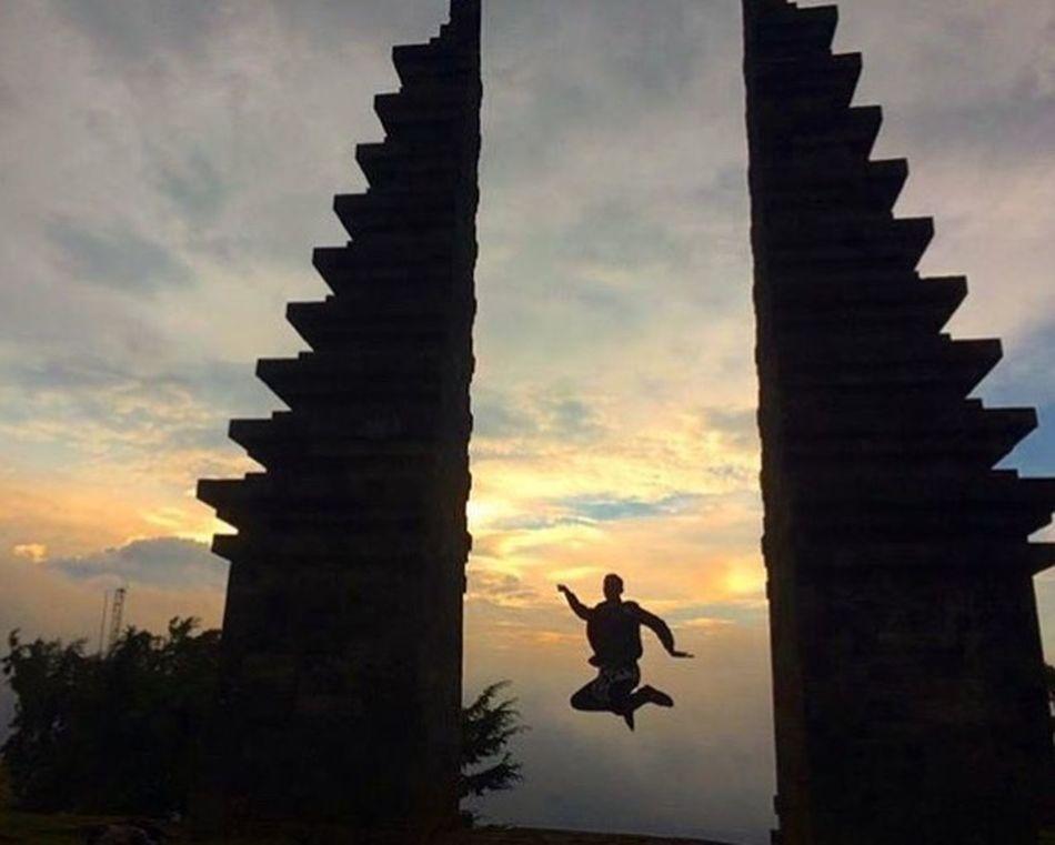 Sunset Silhouette Jumping Sky Bali Bali, Indonesia Ubud Temple