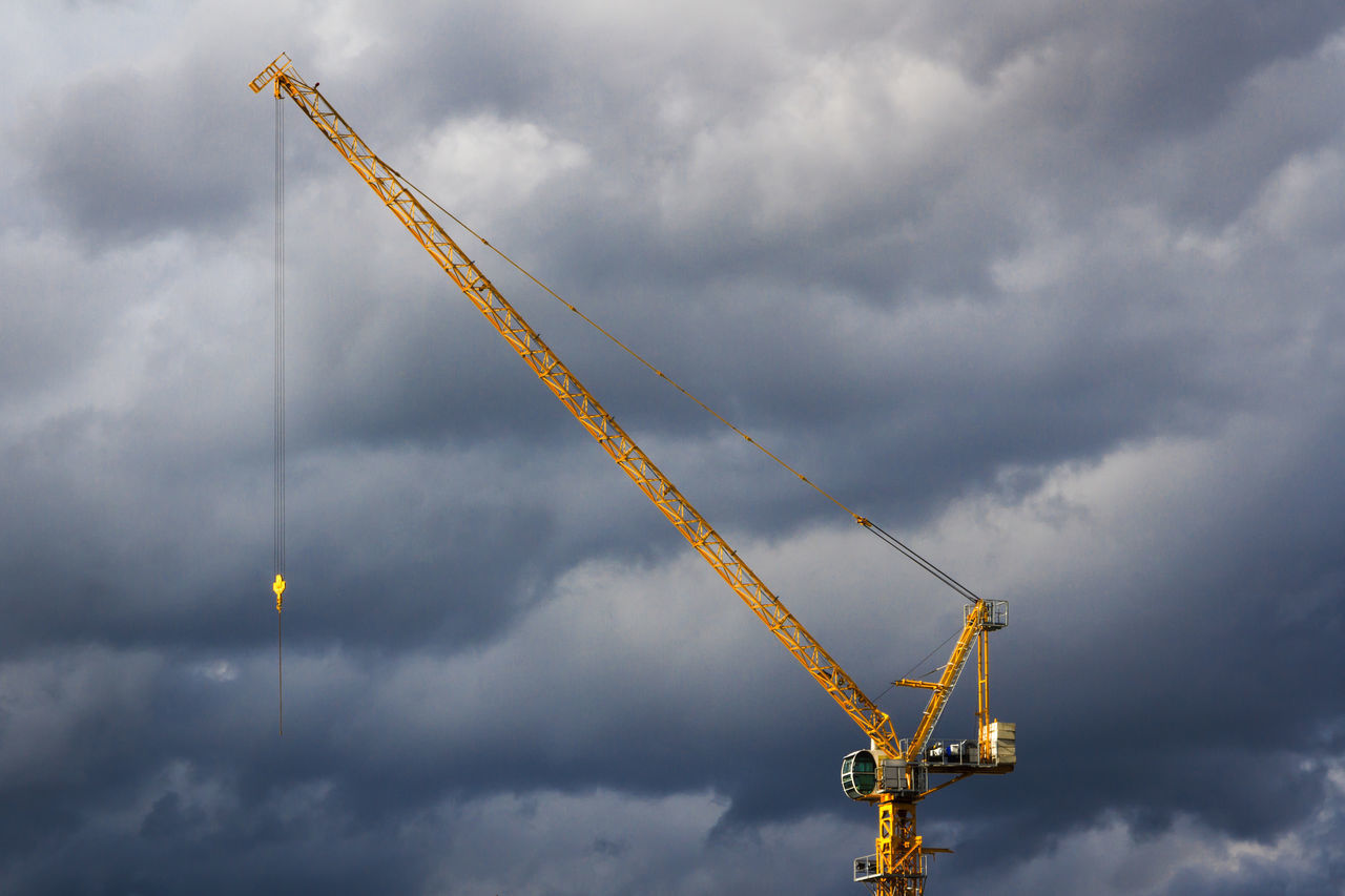 cloud - sky, sky, crane - construction machinery, construction, construction site, development, no people, low angle view, crane, day, outdoors, architecture, nature