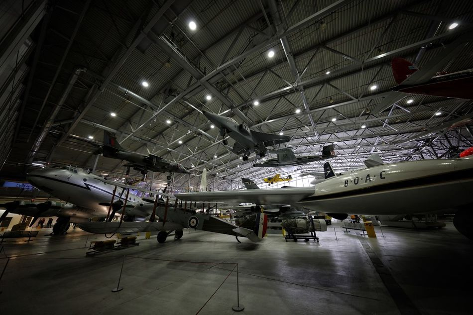 Duxford Imperial War Museum Aerospace Industry Air Vehicle Airplane Airplane Hangar Airport Ceiling Cocncorde Commercial Airplane DUXFORD AIR MUSEUM Duxford Imperial War Museum Illuminated Indoors  No People Stealth Technology Transportation