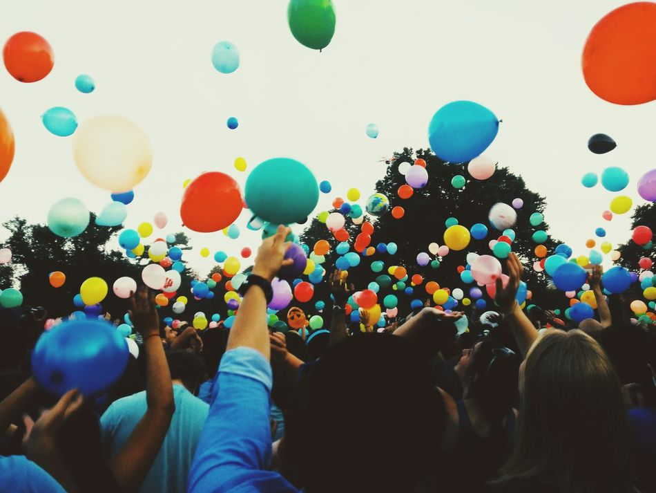 Beautiful stock photos of balloon, Arms Raised, Balloon, Celebration, Colorful