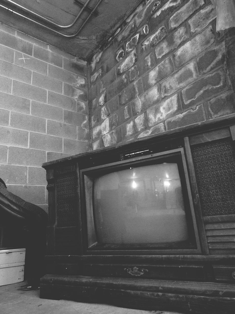 Taking Photos Check This Out EyeEm Gallery Monochrome Black And White Collection  Blackandwhite Photography Scary Places Creepy Creepy Places Creepy Building Spooky Atmosphere Old Television Old TV Set Scary Stuff