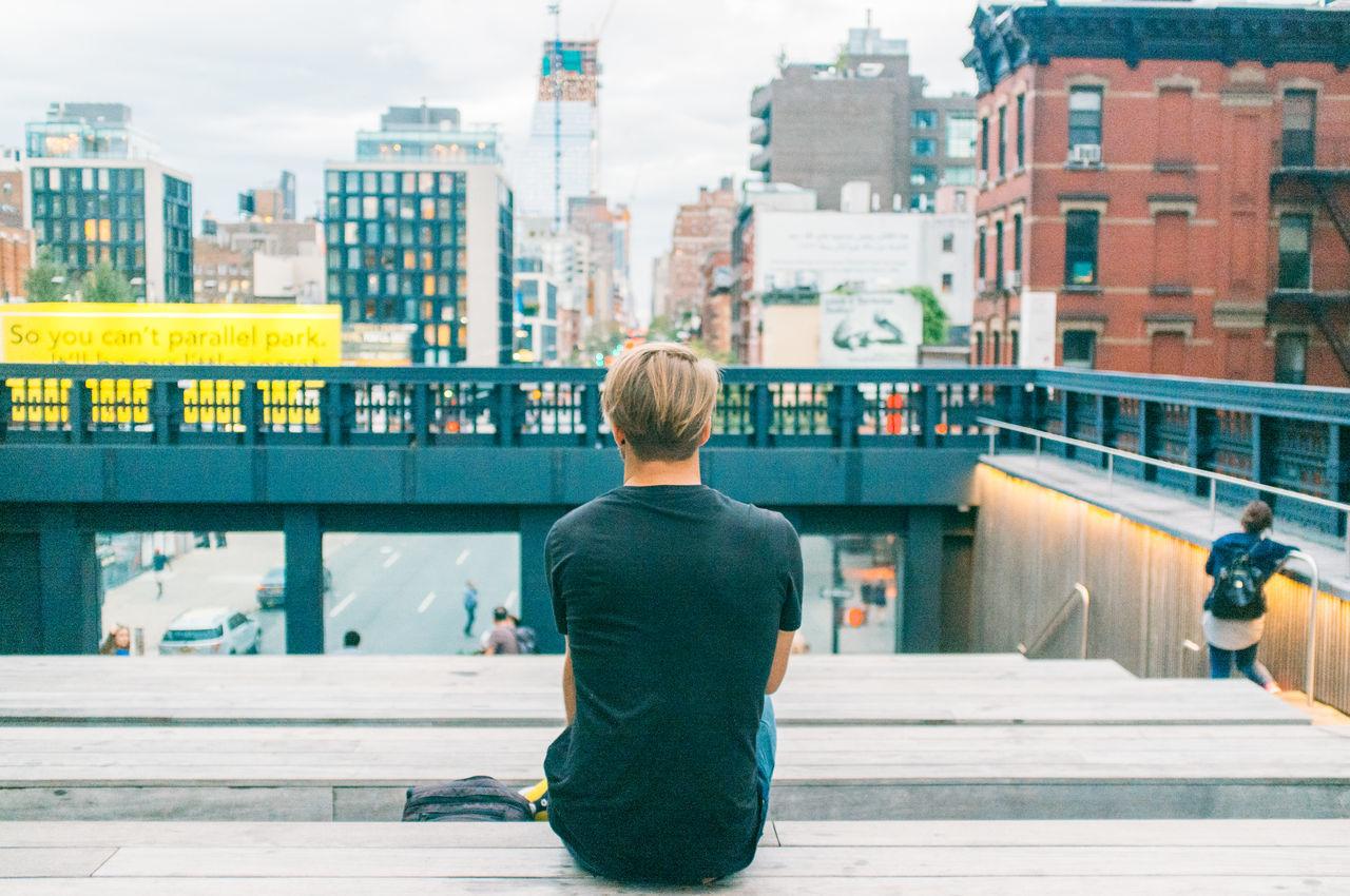 Beautiful stock photos of new york, rear view, lifestyles, men, leisure activity