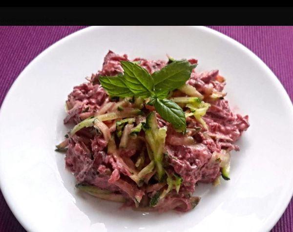 I love creating food, Courgette and Beetroot Salad Out Of My Cauldron SZeaglesoul Streamzoofamily Friends Streamzoofamily Somerset England