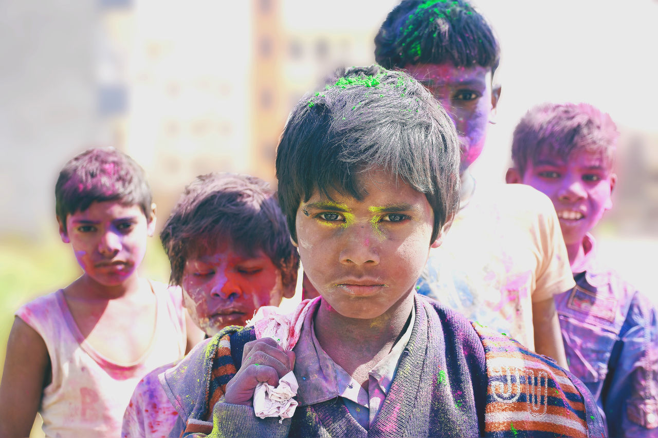 Boys Celebration Child Childhood Children Colour Colour Of Life Cultures Daytime Emotions Eyes Fun Groups Happiness Happy Happyholi Hardlight Holi Leisure Games Life Events Lifestyles Multi Colored Party - Social Event Playing Portrait