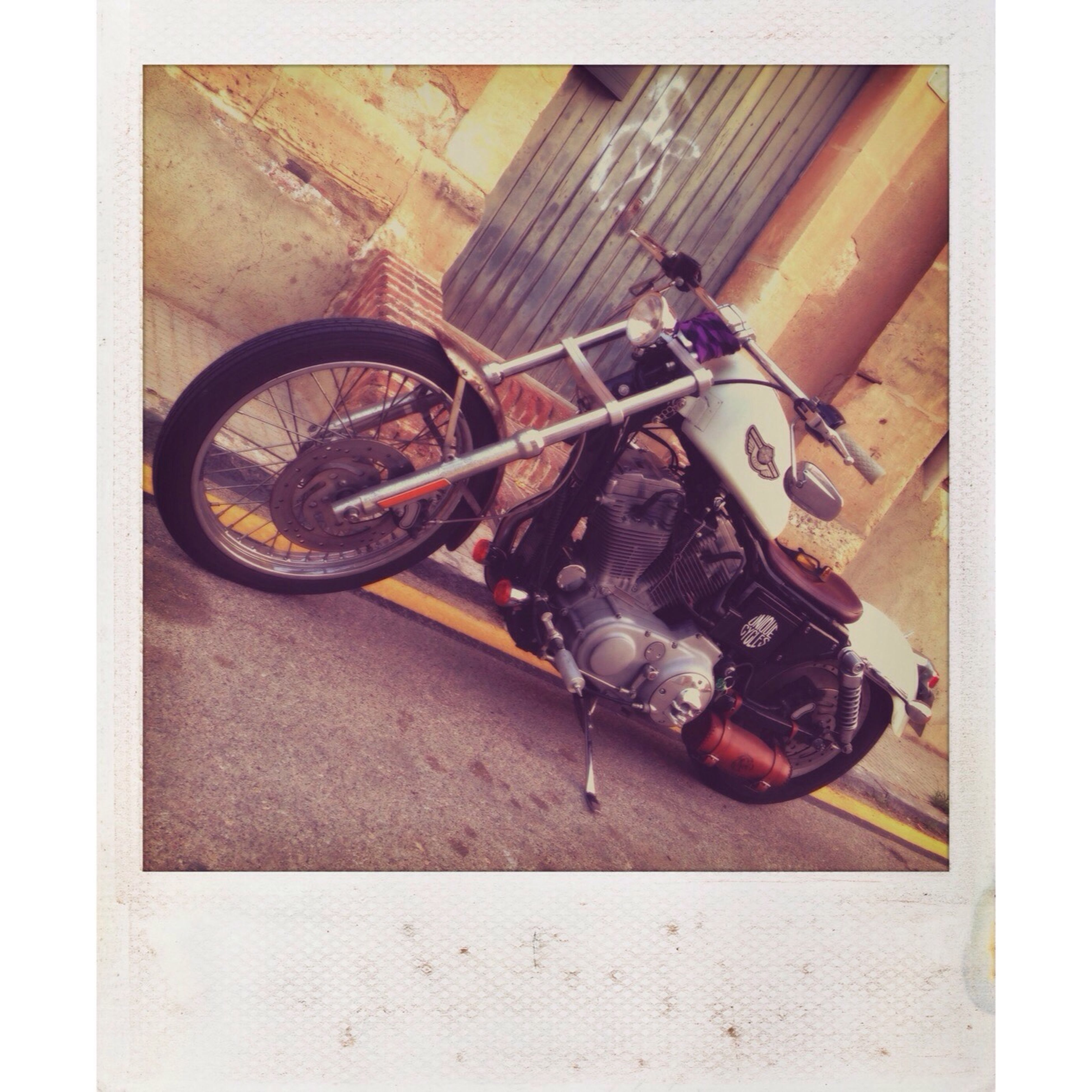 transfer print, auto post production filter, transportation, land vehicle, mode of transport, retro styled, old-fashioned, indoors, technology, metal, stationary, old, close-up, high angle view, no people, machinery, equipment, day, bicycle, wall - building feature