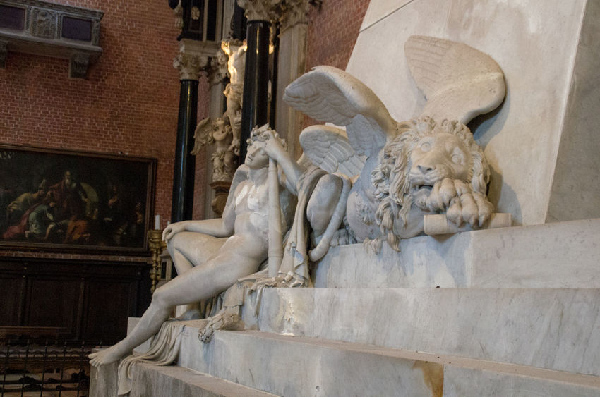 Church Church Of The Brothers Europe Human Representation Italy Low Angle View Male Likeness Marble No People Renaisa Santa Maria Gloriosa Dei Frari Sculpture Statue Taking Photos Venice Venice, Italy Winged Eyeliner Winged Lion