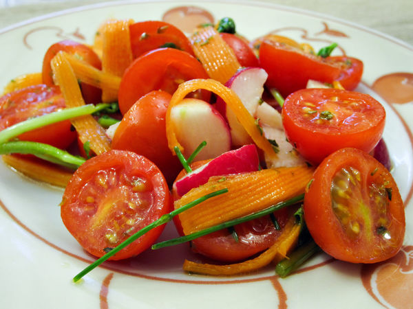 Tomato salad (italian food) Carrots Childhood Close-up Fine Salt Food Freshness Indoors  Italian Food Mediterranean Diet Olive Oil Orange Oregano Radish Red Rocket Salad Tomato Vegetable Vitamins