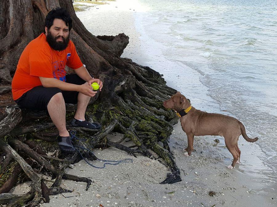 A man and his dog Man And His Dog Honey Bear My Loves At The Beach Palma Sola Florida Life Loving Life