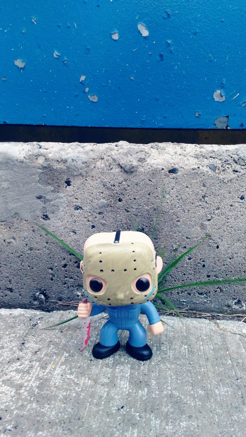 Jasonvorhees Fridaythe13th In Front Of Still Life Funkopopvinyl Amazing Vibrant Color Jasonvoorhees Jasonvoorhes Bluesuit Exclusive  Friday The 13th Popfunko Fun Knife Bestever Close-up Front View Concrete Day Outdoors Concrete Jungle Bluedoor Creativity Tranquil Scene