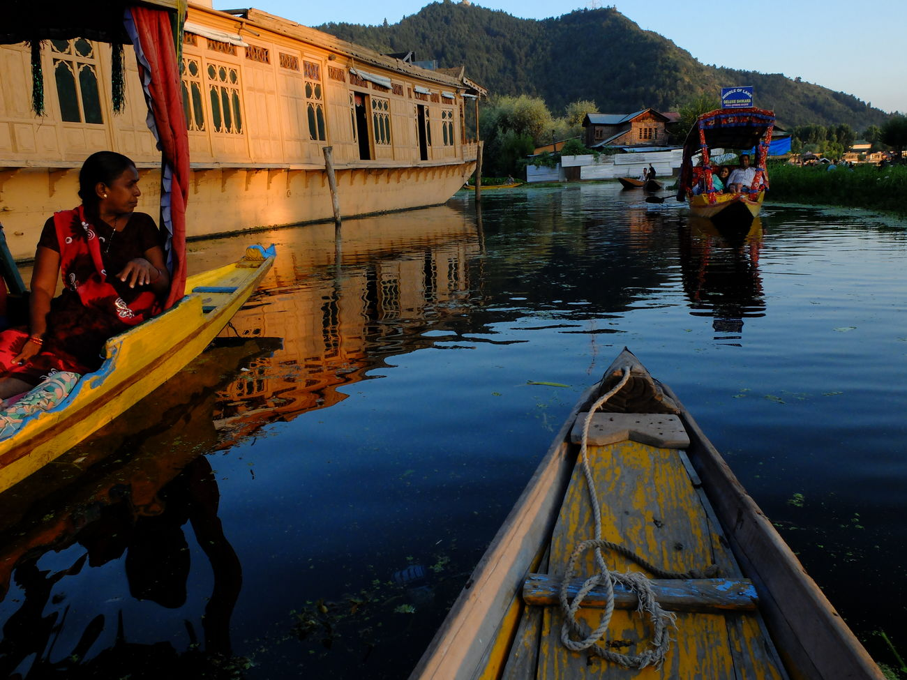Adult Adults Only Day Gondola - Traditional Boat Lake Men Nautical Vessel One Person Outdoors People Reflection Srinagar Kashmir Transportation Tree Water