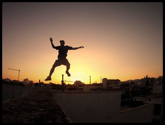 Good evening! Sunset Jumping Hello World Stopping Time