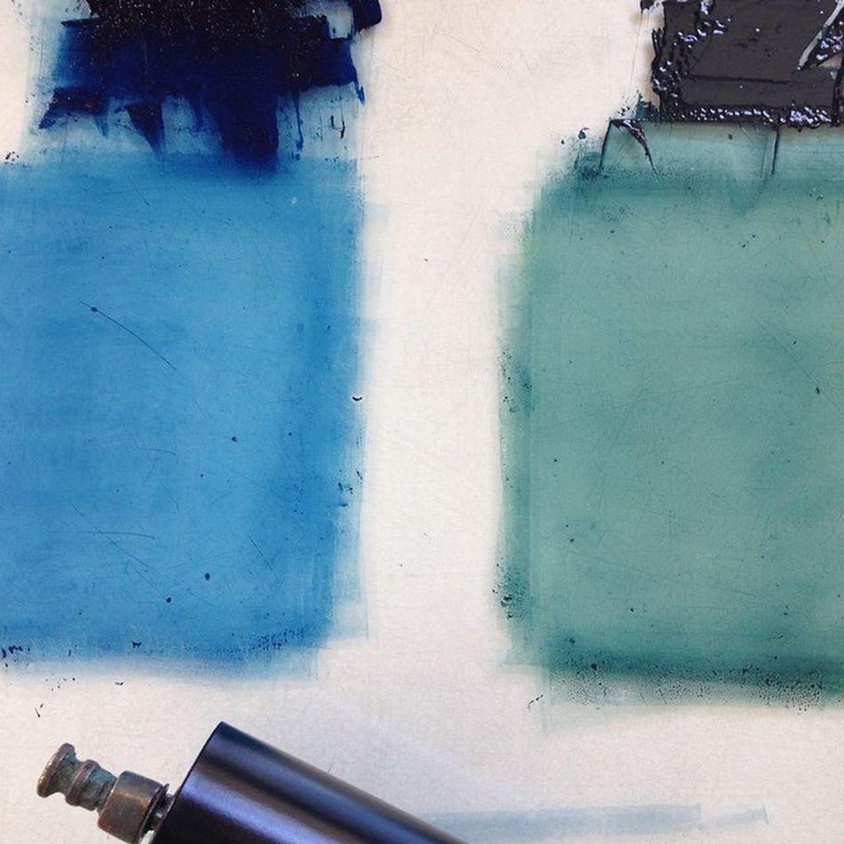 Blue Blue And Green Craft Growth Ink Linocut Making Music Printing Ink Printmaker Printmaking