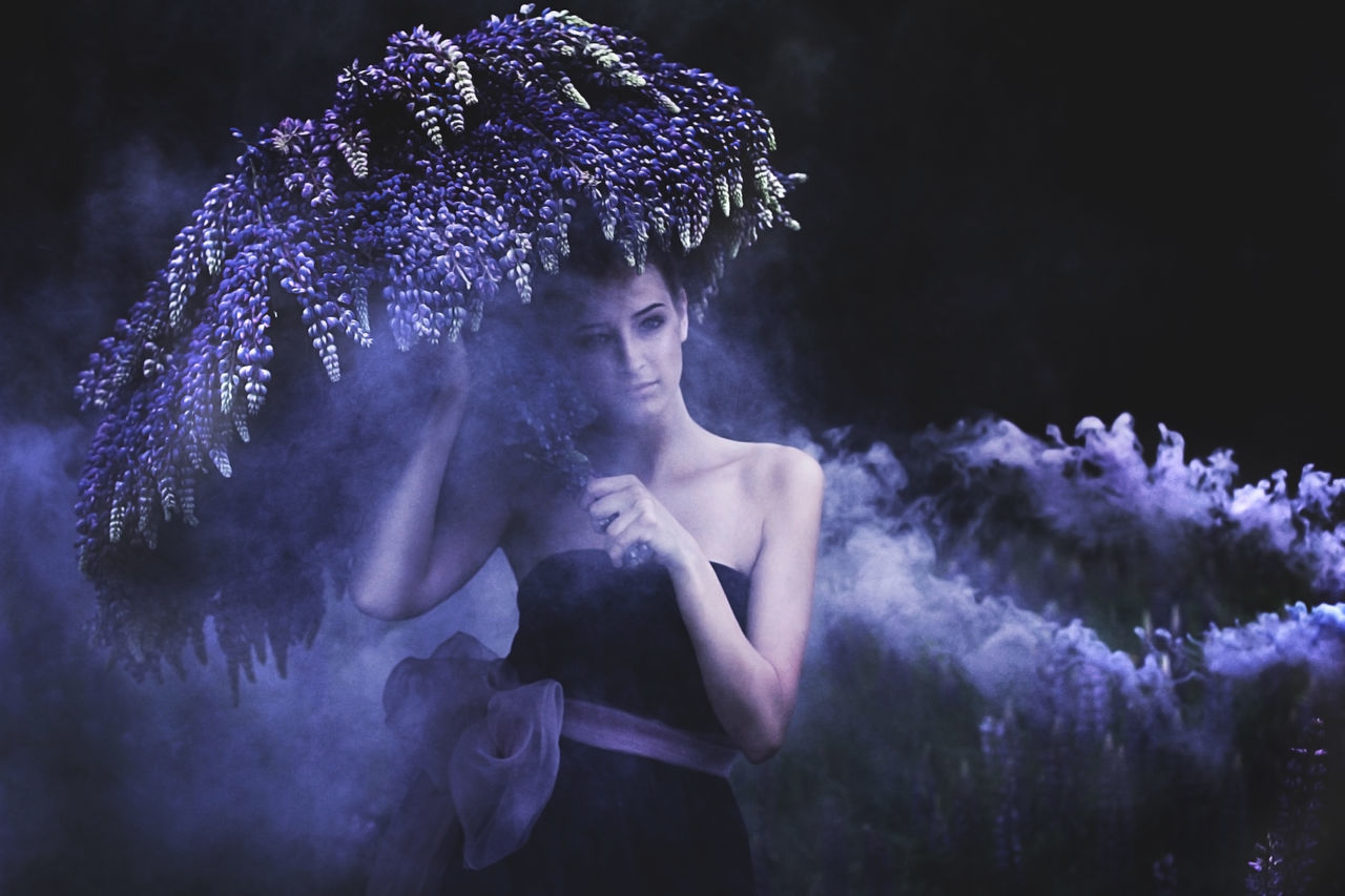 Adult Adults Only Beautiful People Beauty In Nature Eye EyeEm Best Shots Fairy Fairytale  Fantasy Love Lupin Nature Nature Photography Nature_collection Naturelovers Night One Person Outdoors People Portrait Smoke TheWeekOnEyeEM Umbrella Violet Wonderland