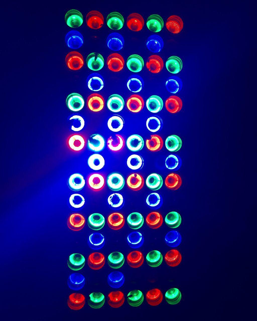 illuminated, multi colored, lighting equipment, blue, no people, pattern, technology, black background, indoors, night, studio shot, neon, close-up