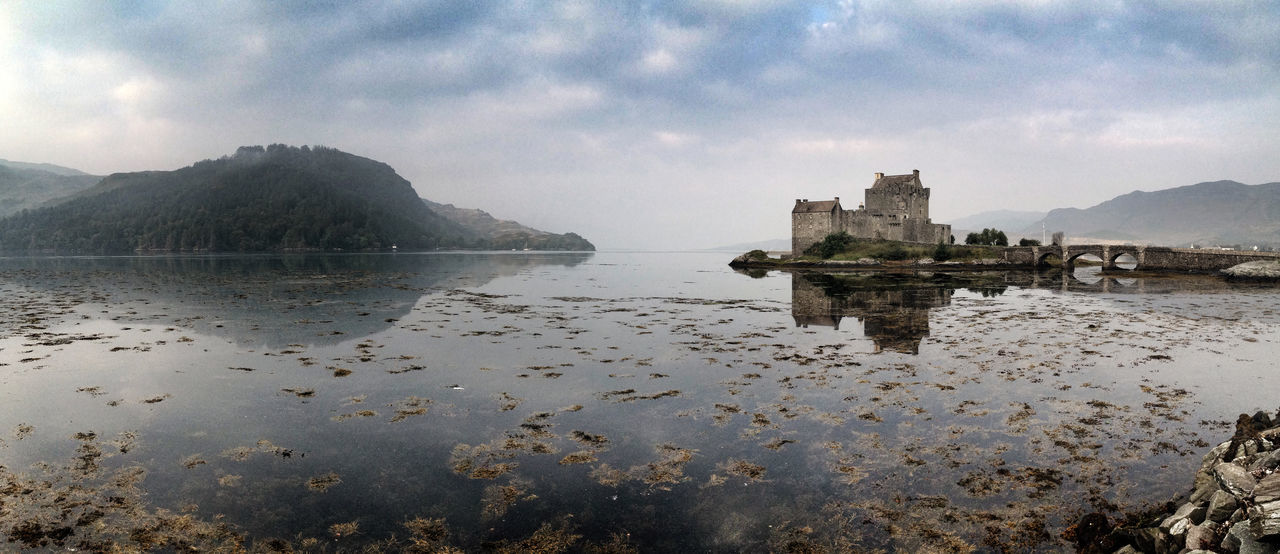A traquil morning at Eilean Donan Castle, Dornie, Highlands of Scotland Calm Castle Cloud - Sky Cloudy Coastline Eilean Donan Eilean Donan Castle Highlands Mountain No People Non-urban Scene Outdoors Panoramic Scenics Scotland Shore Sky Tranquil Scene Tranquility Travel Destinations Water