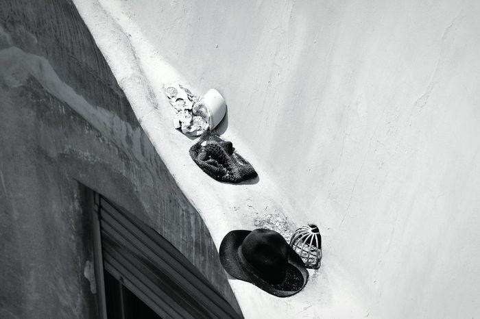 Left over Open Edit EyeEm Best Shots - Black + White Monochrome Blackandwhite Rooftop Leftovers Strange Objects In My Neighborhood Hats Lostandfound Old
