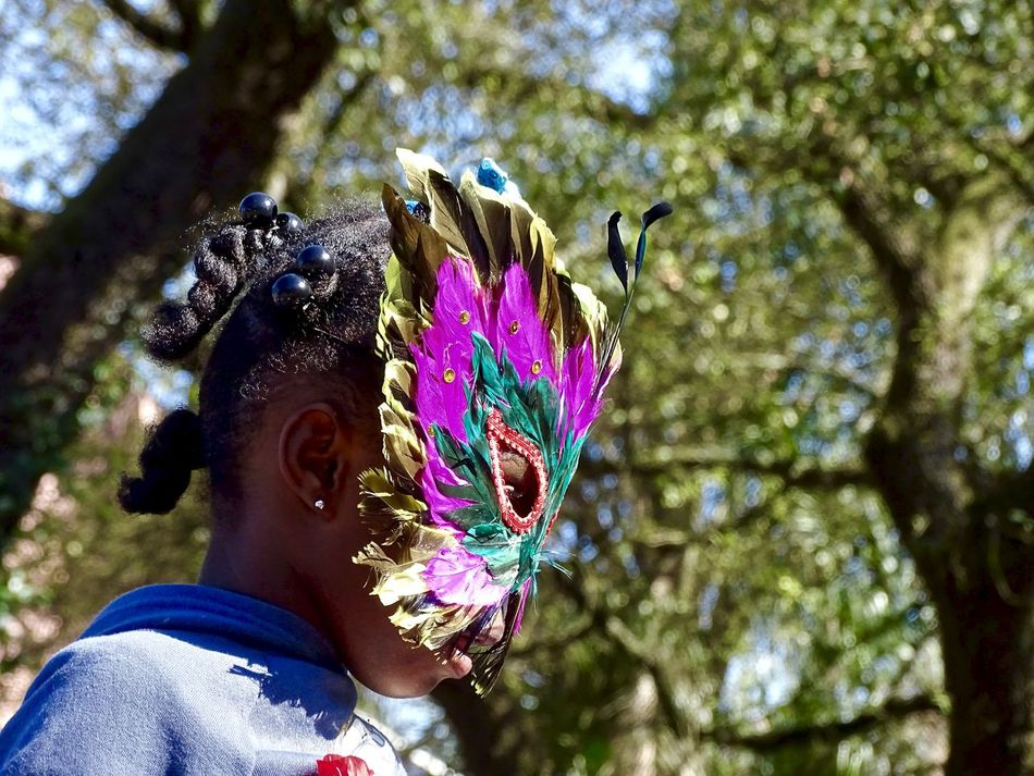 Day Feather  Flower Focus On Foreground Headdress Headshot Holding Leisure Activity Lifestyles Low Angle View Mardi Gras Nature One Person Outdoors People Real People Tree Young Adult