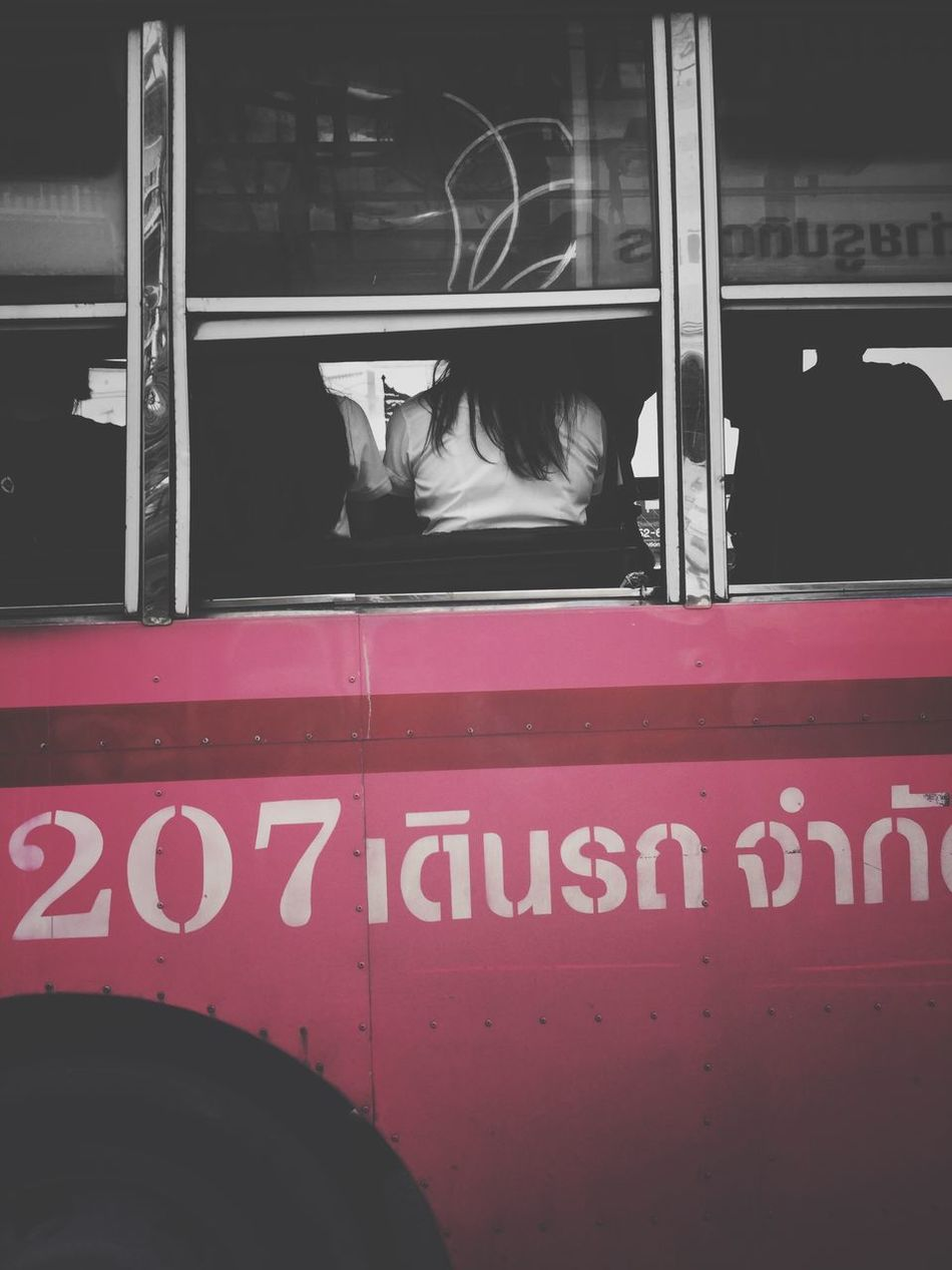 Pink Color Bus Packing Traffic Jam Pepole Transportation Lifestyles Street Life Asian  Lifestyle Day Window Welcome To Black Thailand Bangkokbus
