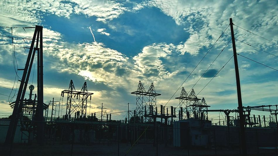 I like power lines Sky Cloud - Sky Silhouette Outdoors Day No People Streetphoto_color Night Sky Photography Built Structure Architecture Low Angle View Power Plants Power Lines Against Sky Power Line  Barbed Wire