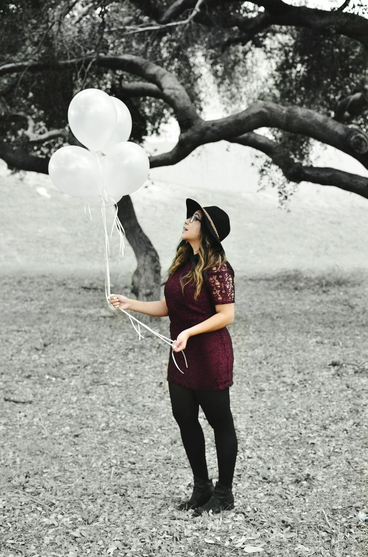 Nature Trees Light Skin Leaf Black And White Sun Bonnets Grass Balloons Big Hat Color Splash Dress