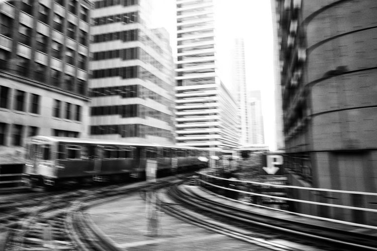 CTA Chicago Commuting Elevated Track The El Transport Transportation Beauty Of Everyday Trip To Work Blurred Motion City Day Day By Day El Everyday Movement Motion Movement Rail Transportation Railroad Track Skyscraper Speed Tiresome  Train Transportation Urban Urban Transportation