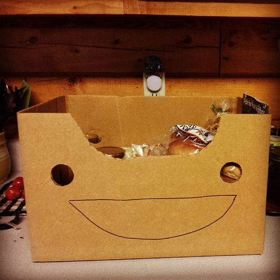 Came home from shopping at Sweet Clover to find the box smiling at me. Happybox HappySaturday Organicmarket Silly sillyfaces vermont