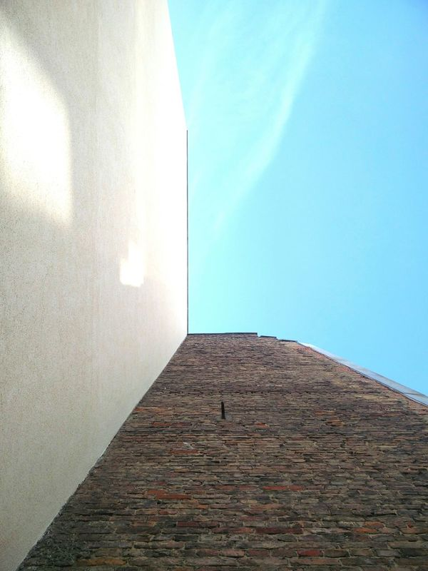 Berlin Wall looking up into the blue sky Sky Blue Day Outdoors No People Full Frame Modern Geometric Shape
