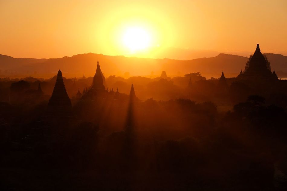 Religion Sunset Pagoda Silhouette Sun Ancient Tourism Spirituality Beauty In Nature Architecture Nature No People Place Of Worship Landscape Outdoors Sky Mountain EyeEm Best Shots EyeEm Gallery Check This Out Popular Photos Travel Travel Destinations in Bagan , Myanmar