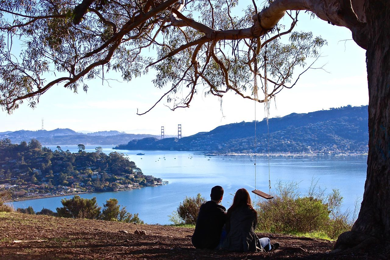 Beach Beauty In Nature Day Golden Gate Bridge Golden Gate Bridge In Background Leisure Activity Men Mountain Mountain Range Nature Outdoors People Real People San Francisco Sausalito Scenics Sea Sky Technology Togetherness Tree Two People Water