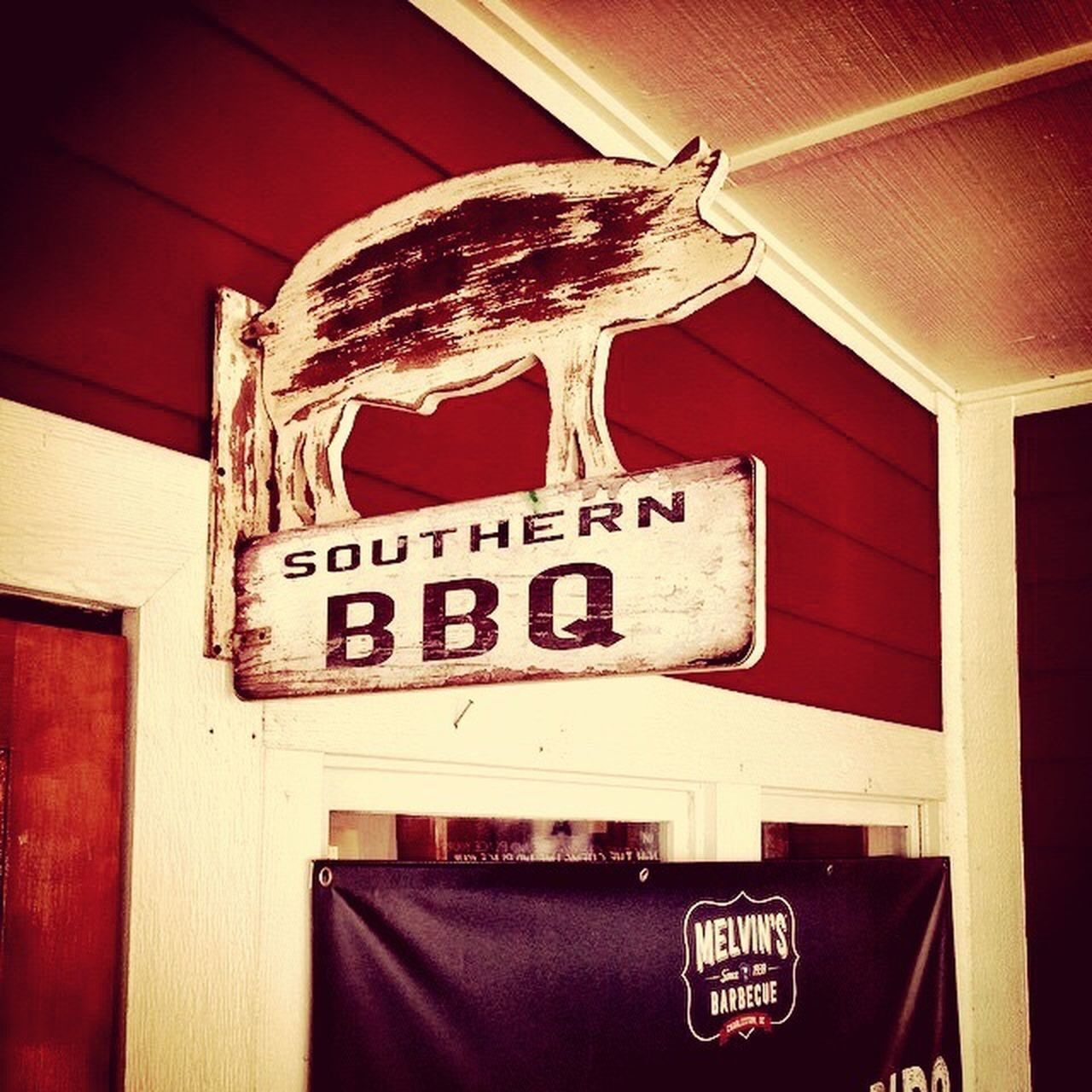 Barbecue Pig Southern South Carolina Red Restaurant Sign Feel The Journey
