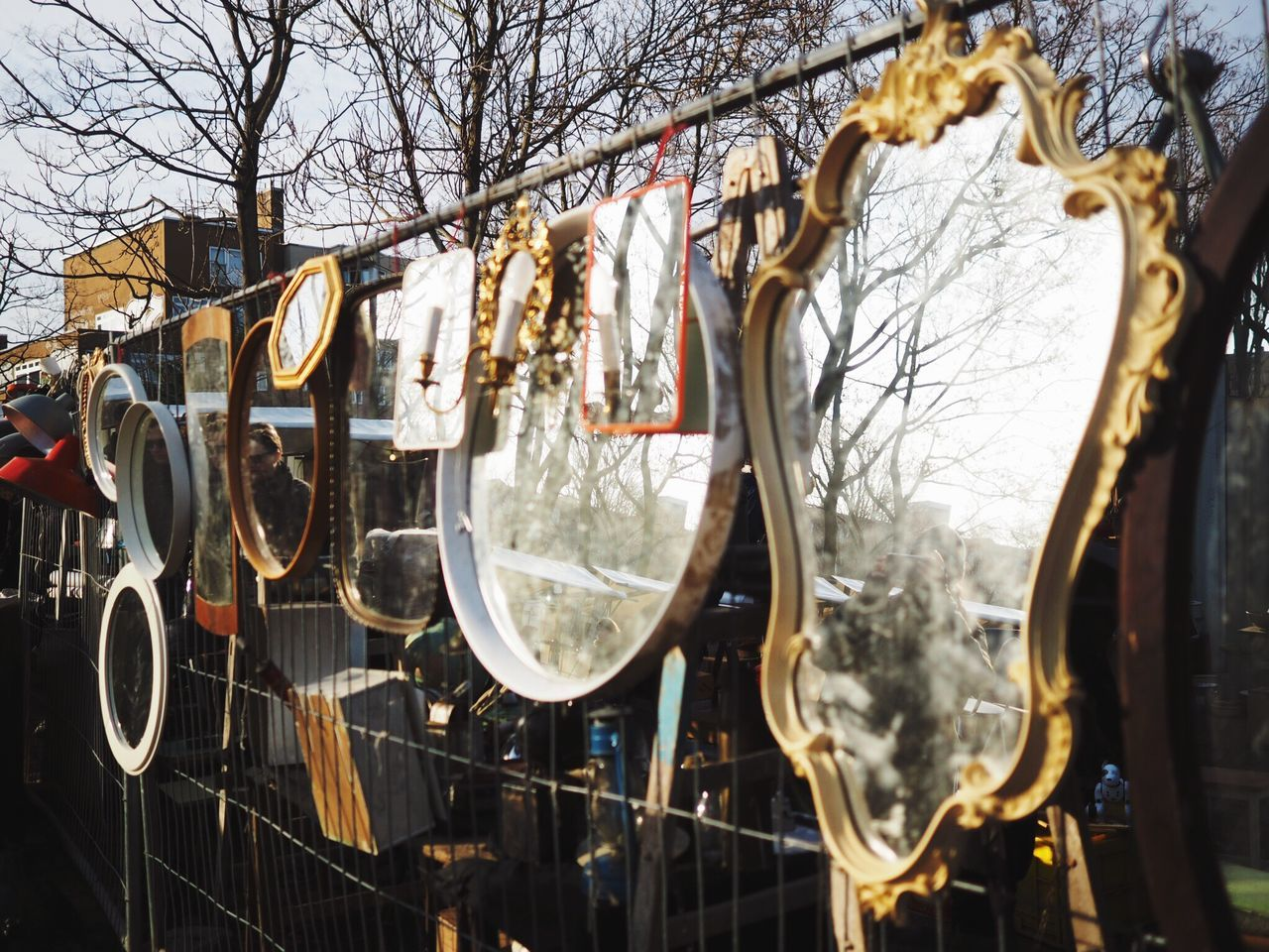 Music Arts Culture And Entertainment Variation No People Tree Outdoors Musical Instrument Day Mirror Mirrors Reflection Flea Markets