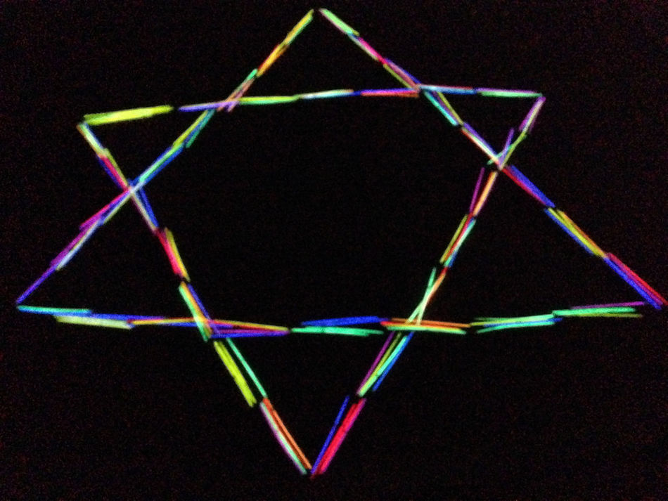 Black Background Black Background Celebrate Jew Check This Out Close-up Color Colour Hebrew Israel Japan Jewellery Jewelry Jewish Star Light Sticks Light-stick Multi Colored Multicolored Multicoloured Night Lights No People Outdoors Sand Star Of David Studio Shot Symbol