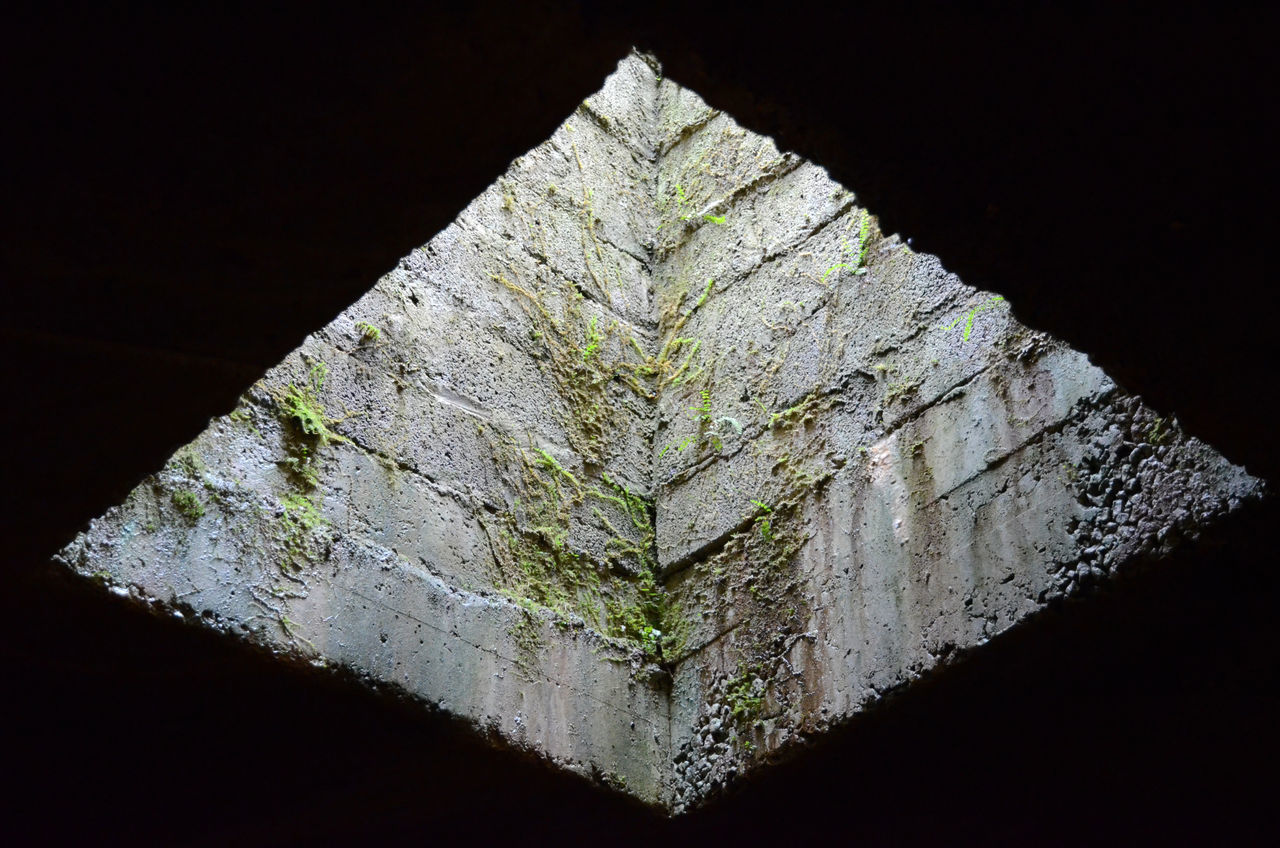 Close-up low angle view of stone wall