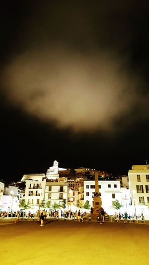 Built Structure Architecture Night Illuminated Cloud Travel Destinations Sky City Tourism Clouds And Sky Famous Place Outdoors History City Life Façade In Front Of No People Town Residential District Old Town Ibiza Town Night Photography Town At Night Nightphotography Light Clouds