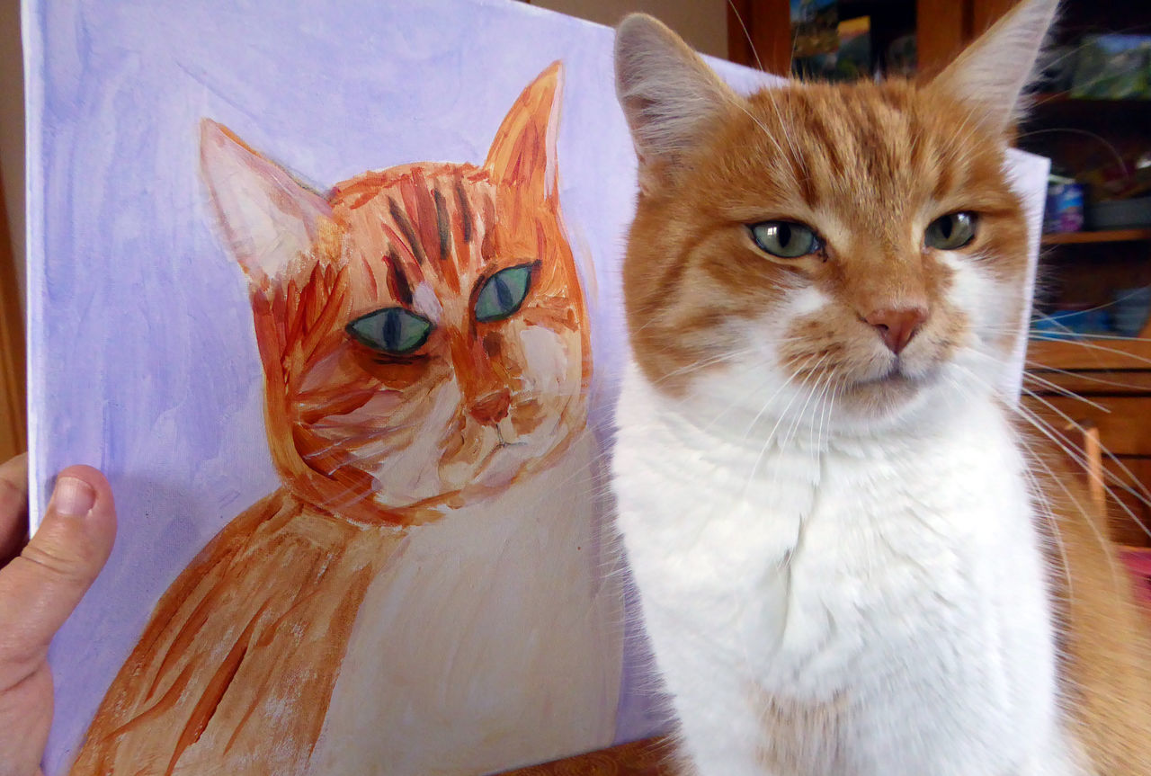 Red cat with her painted portait Domestic Cat Animal Themes Pets Domestic Animals Looking At Camera Feline No People Close-up Indoors  Portrait One Animal Resemblance Likeness Twins Similarity Picture Painting Painted Image Funny Cat Funny Moments FUNNY ANIMALS Funny Faces Funny Stuff Funnypictures Redandwhite tigercat