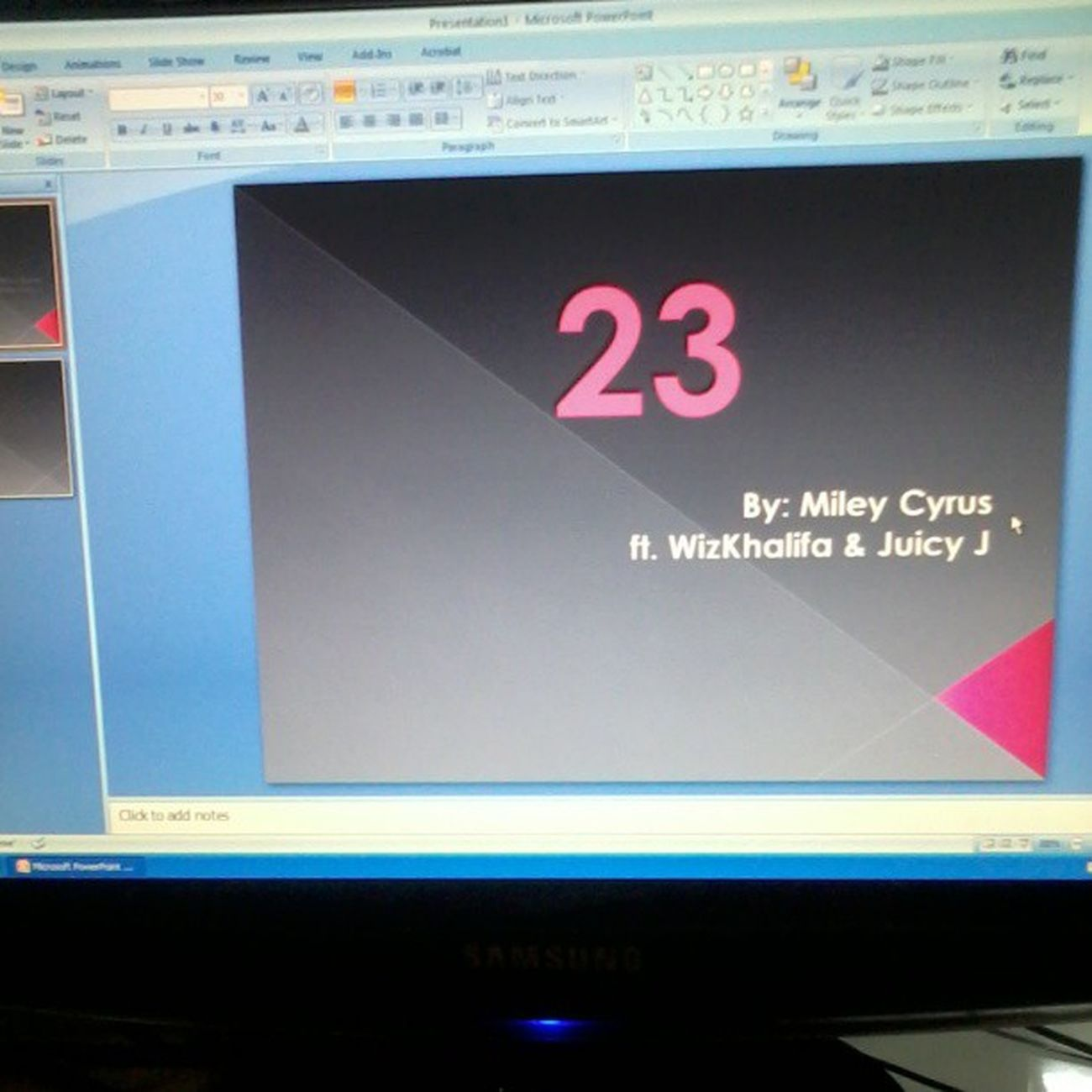 here at computer lab making slides :) my favorite song <3 23 Mileycyrus WizKhalifa JuicyJ love