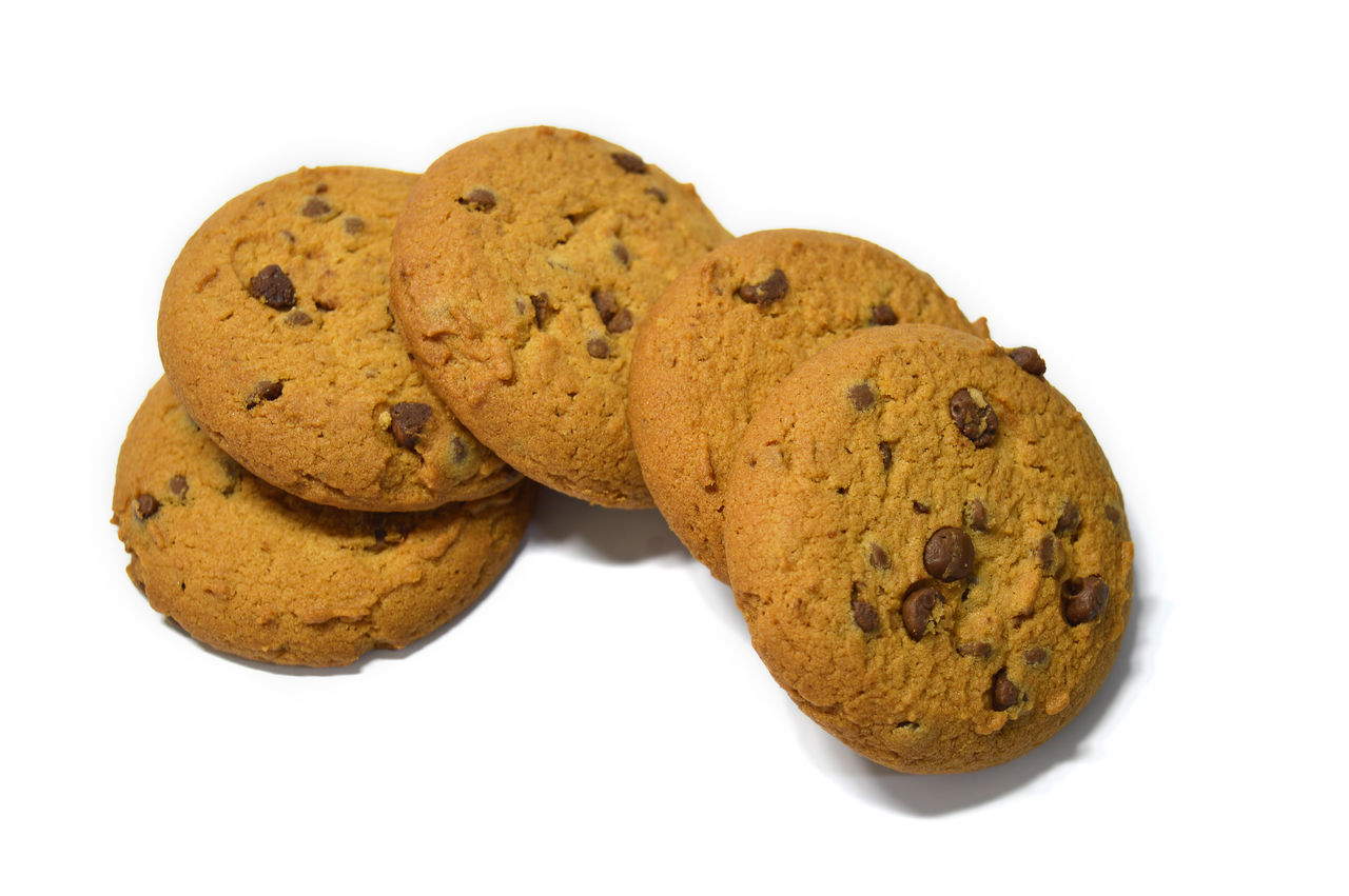 Chocolate chips cookies isolated on white Bake Biscuit Breakfast Brown Calories Carbohydrate - Food Type Cookies Delicious Dessert Fresh Handmade No People Ready To Eat Snack Sweet Food Temptation White Background