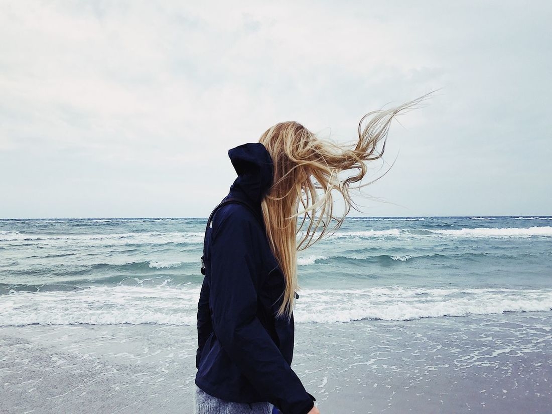Breath out... Sea Horizon Over Water One Person Water Sky Long Hair Beach Nature Leisure Activity Lifestyles Real People Scenics Motion Standing Outdoors Wave Beauty In Nature Young Women Day Young Adult Fresh On Market 2017