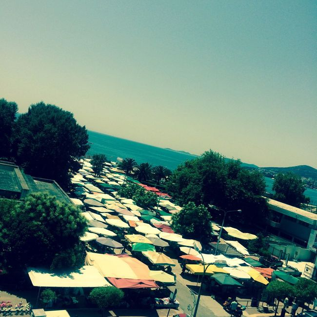 Going To Market Tents Kavala Cityscapes Greece
