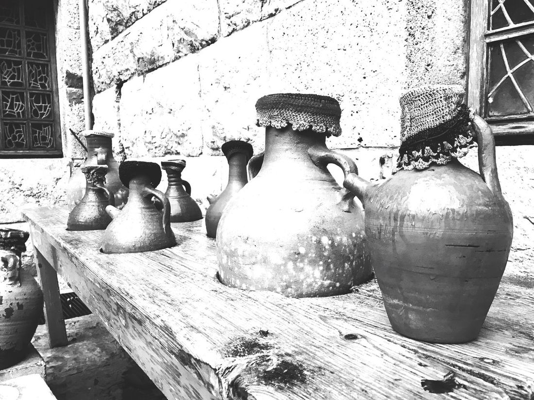 Eyeemphotography Artphotography Artistic Art, Drawing, Creativity Balck And White Black And White Pottery Ceramics Old-fashioned Decorative Urn Antique No People Table Indoors  Day Close-up Workshop (null)ArtWork Blackandwhite Eye4photography  EyeEmBestPics EyeEm Best Shots EyeEm Best Edits Pottery Passion
