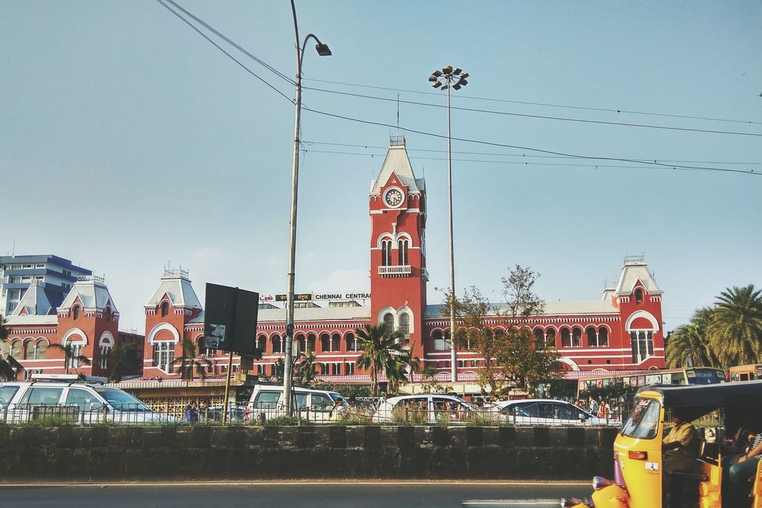 Chennai central railway station. Travel Destinations City Tower Sky No People Outdoors Skyscraper Architecture Sunset Urban Skyline Cityscape Day Beauty In Nature Vscogrid Cityscape Mobile Photography Blesson Miracle Mathew VSCO Vscoindia Public Transportation Railroad Station Platform Mobilephotography India