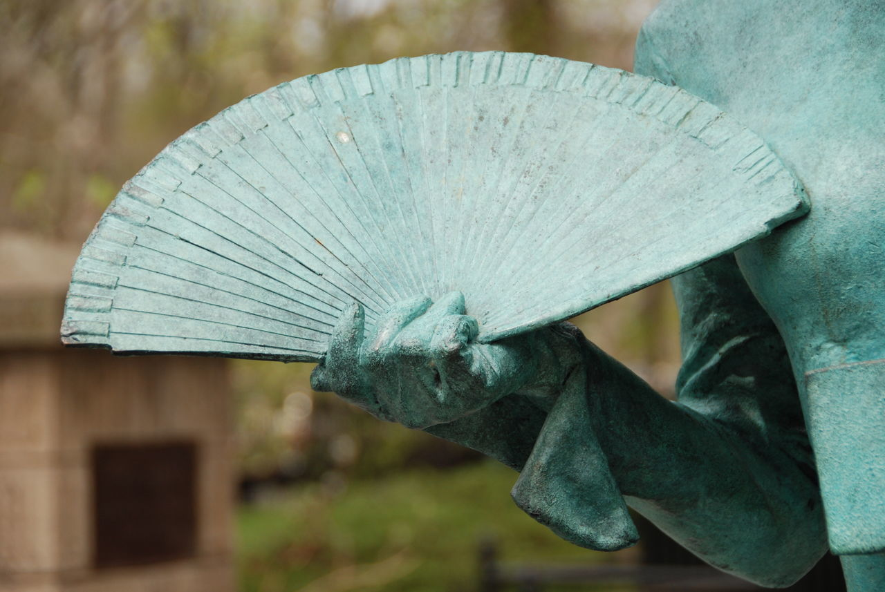 Asian Culture Close-up Copper Statues Day Delicate Beauty Fan Green Sculpture Hand Holding Fan No People Outdoors Sculptures