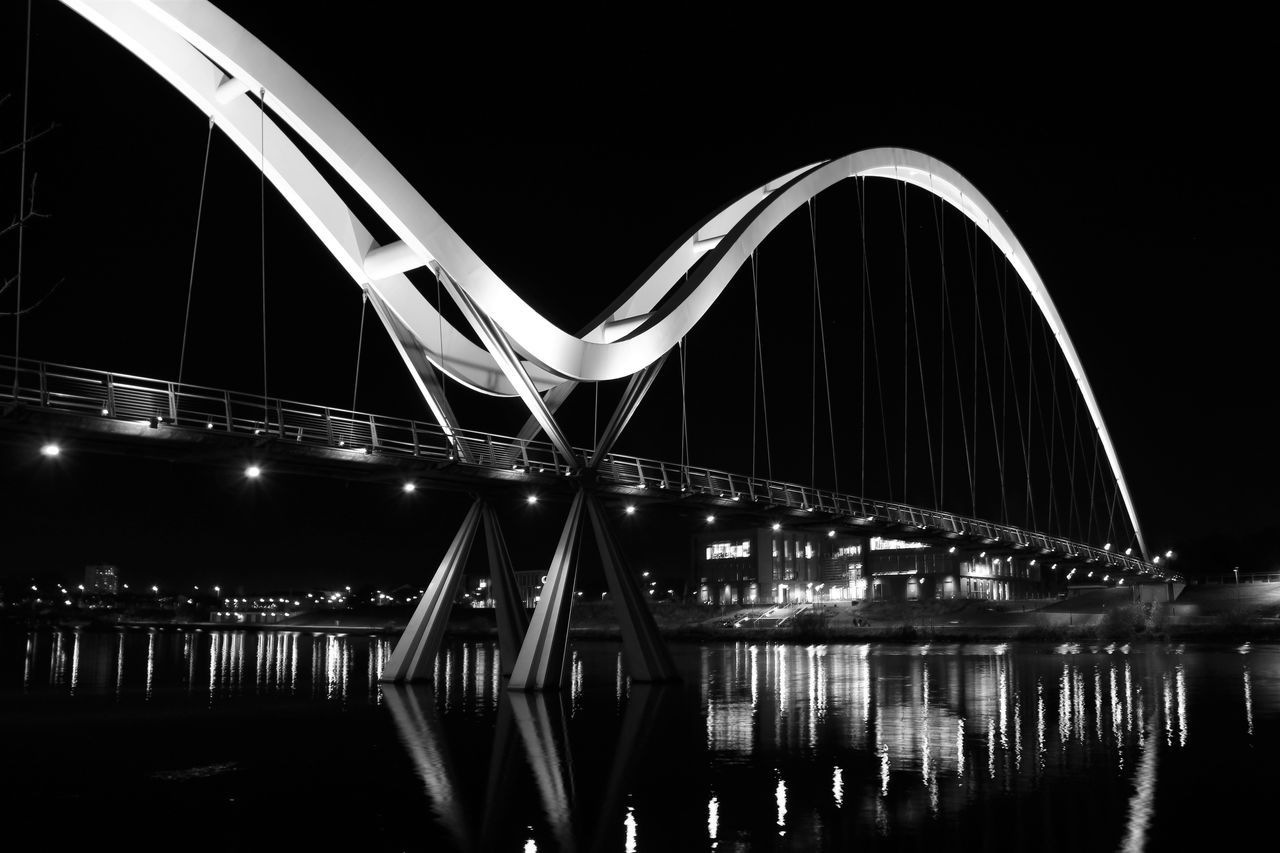 Architecture Bridge - Man Made Structure Built Structure Business Finance And Industry City Connection Infinity Bridge Night Outdoors People Travel Destinations Water