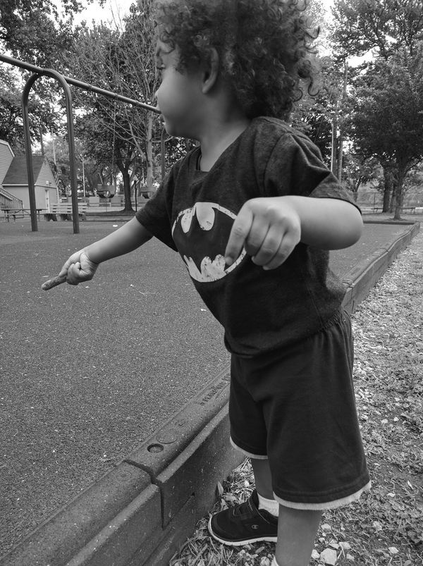 Batboy Batman Son Child Myblood Love Outdoors Park Playing Trees