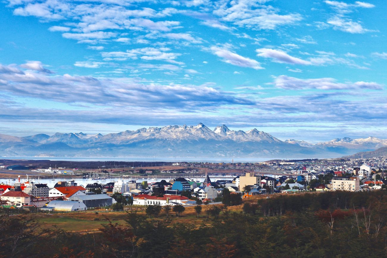 Ushuaïa Mountain House Landscape Mountain Range Beauty In Nature Building Exterior Sky Town Nature Built Structure Architecture Outdoors Scenics Community Blue Day No People Cityscape Outdoor Photography Argentina Patagonia Tierra Del Fuego Travel Destinations Travel