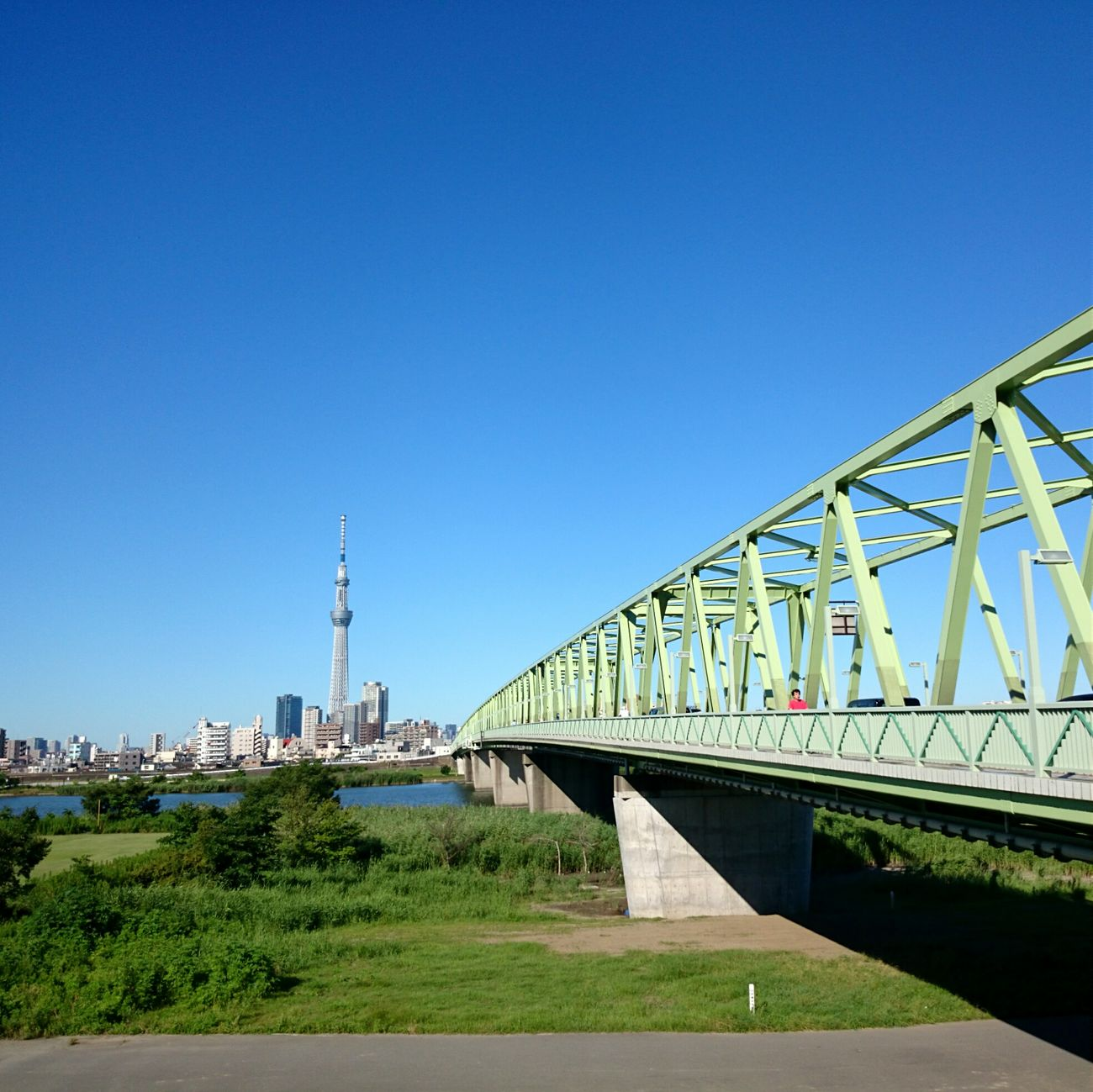 Good Morning ☺ Morning Ride  Mobilephotography Blue Sky Tokyo Sky Tree Iron Bridge