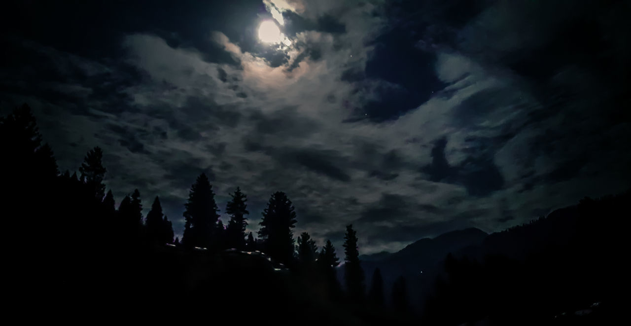 nature, sky, cloud - sky, tranquil scene, silhouette, tranquility, scenics, beauty in nature, tree, no people, landscape, low angle view, outdoors, night, mountain