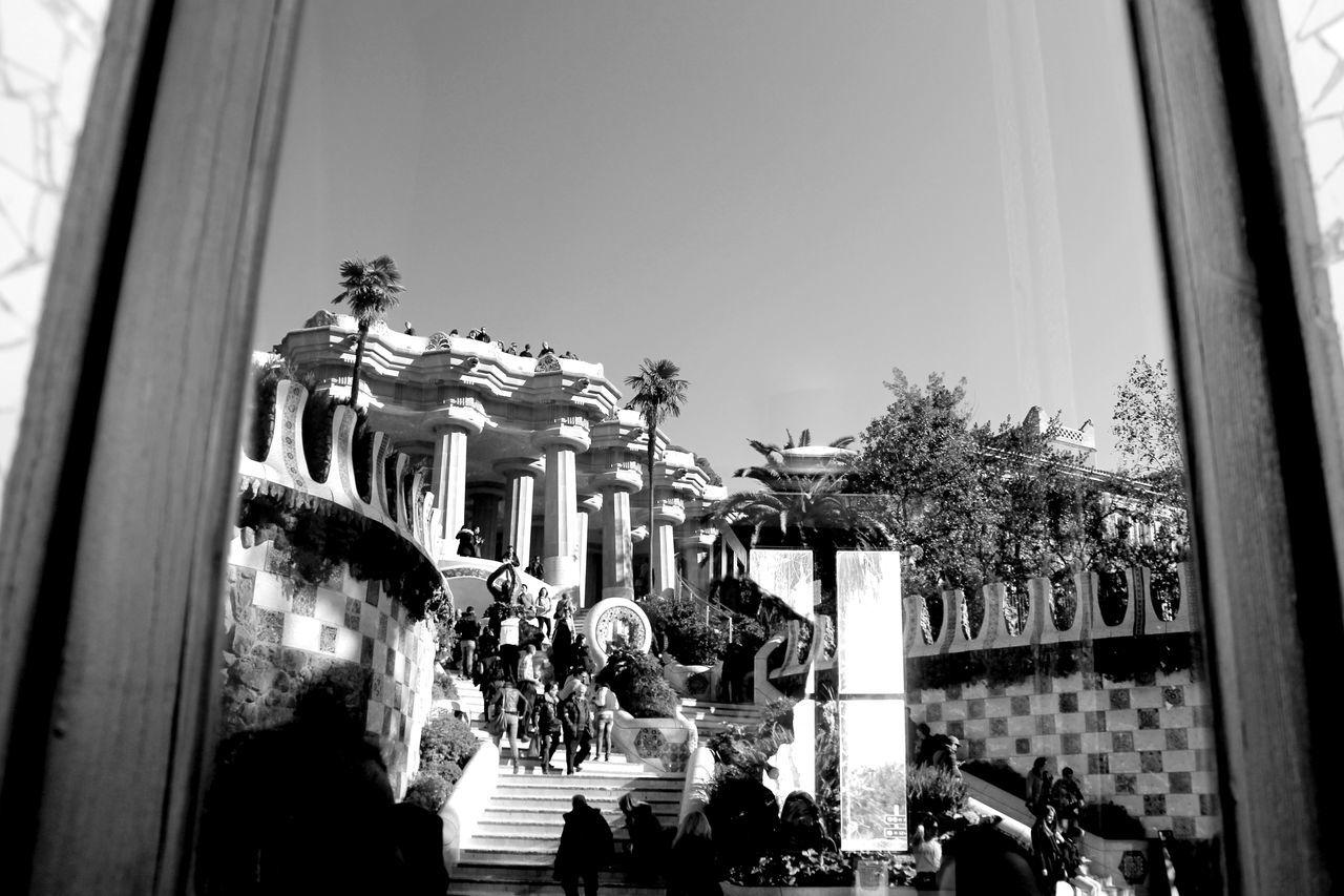 Park Guell, Spian Barcelona Blackandwhite Columns Historical Building Park Park Guell Reflctions Reflection SPAIN Window